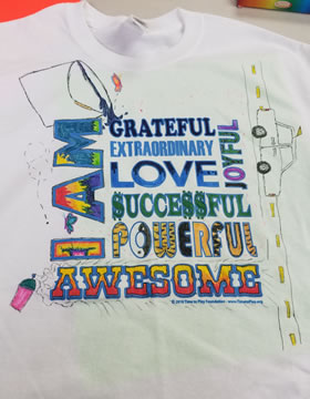I Am Awesome Workshop Tee Shirt image in yellow fading to orange