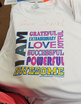 I Am Awesome Workshop Tee Shirt image in pink and yellow